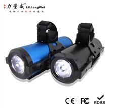 厂家订制 自行车移动电源 铝壳移动电源 双USB输出 紫光手电筒
